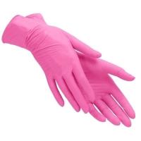 Перчатки нитриловые, розовые, одноразовые, неопудренные, нестерильные