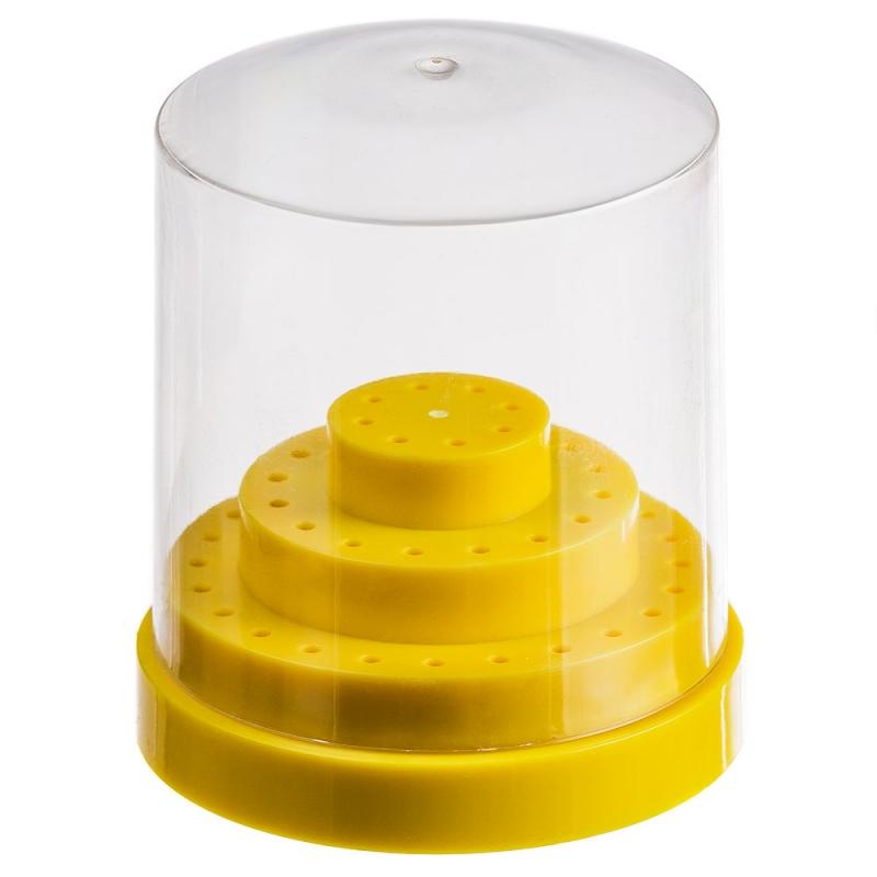Бокс желтый для хранения боров, фрез, насадок/(48 шт)